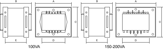 Low Voltage UEF Clamp Transformer Dimensions
